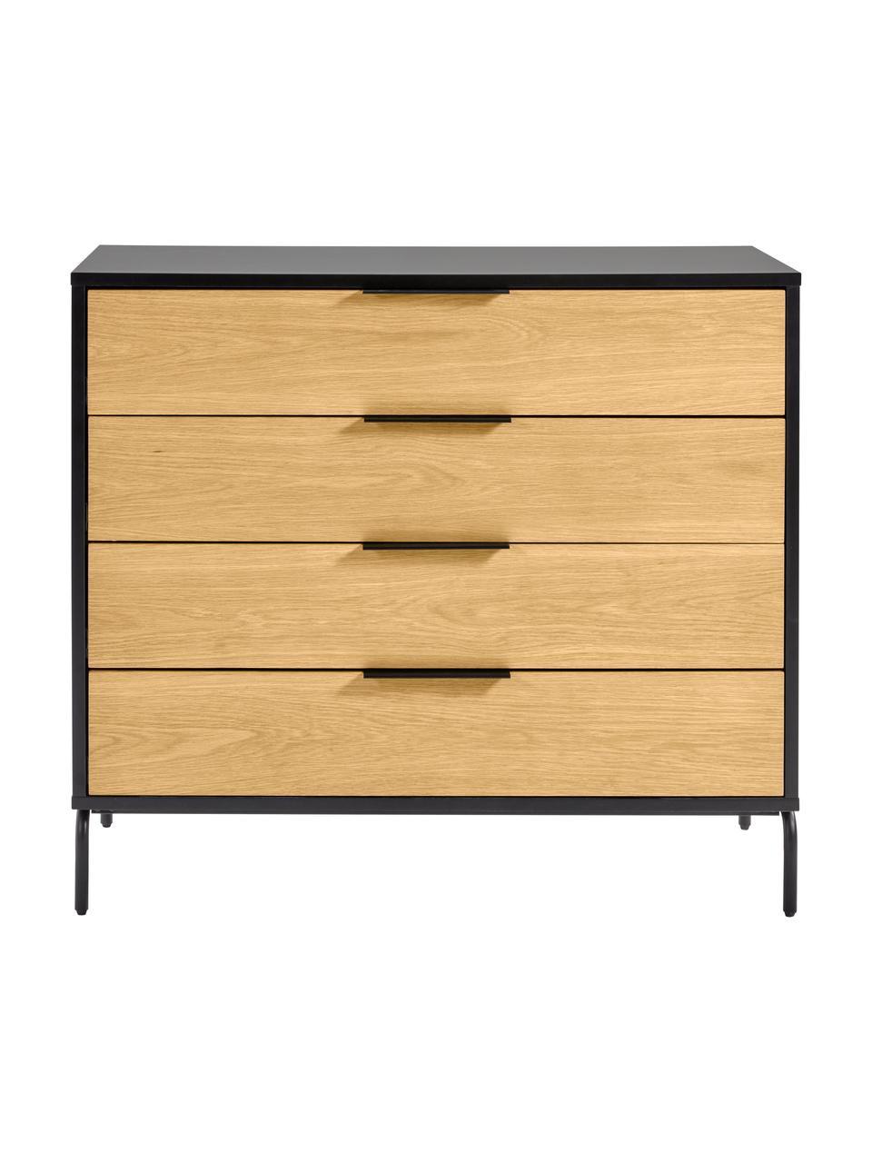 Cassettiera con finitura in rovere Stellar, Nero, legno di quercia, Larg. 100 x Alt. 90 cm