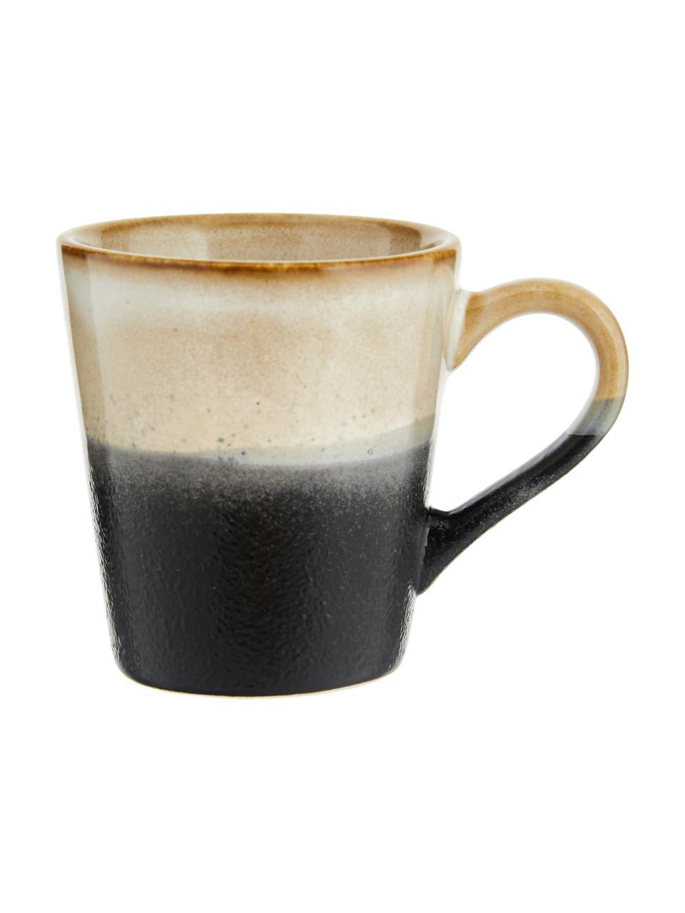 Handgemaakte espresso kopjesset 70's in retro stijl, 4-delig, Keramiek, Multicolour, Ø 6 x H 6 cm
