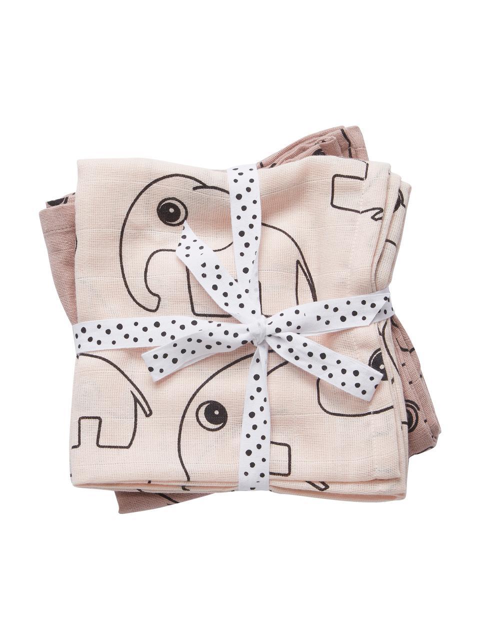 Komplet pieluszek tetrowych Contour, 2 elem., 100% bawełna, certyfikat Oeko-Tex, Blady różowy, S 120 x D 120 cm
