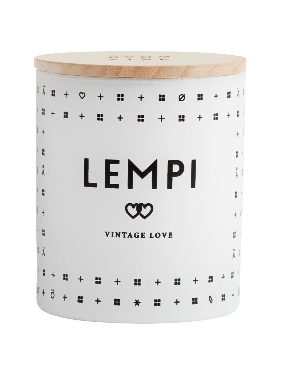 Duftkerze Lempi (Rose), Behälter: Glas, Deckel: Buchenholz, Weiß, Ø 8 x H 9 cm