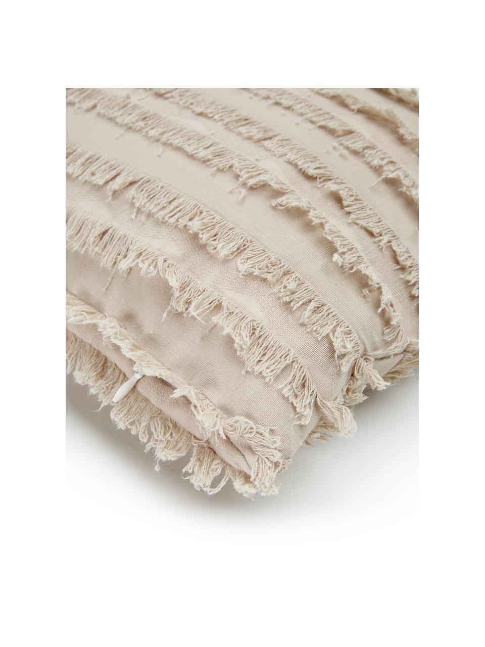 Federa arredo beige con frange decorative Jessie, 88% cotone, 7% viscosa, 5% lino, Beige, Larg. 30 x Lung. 50 cm