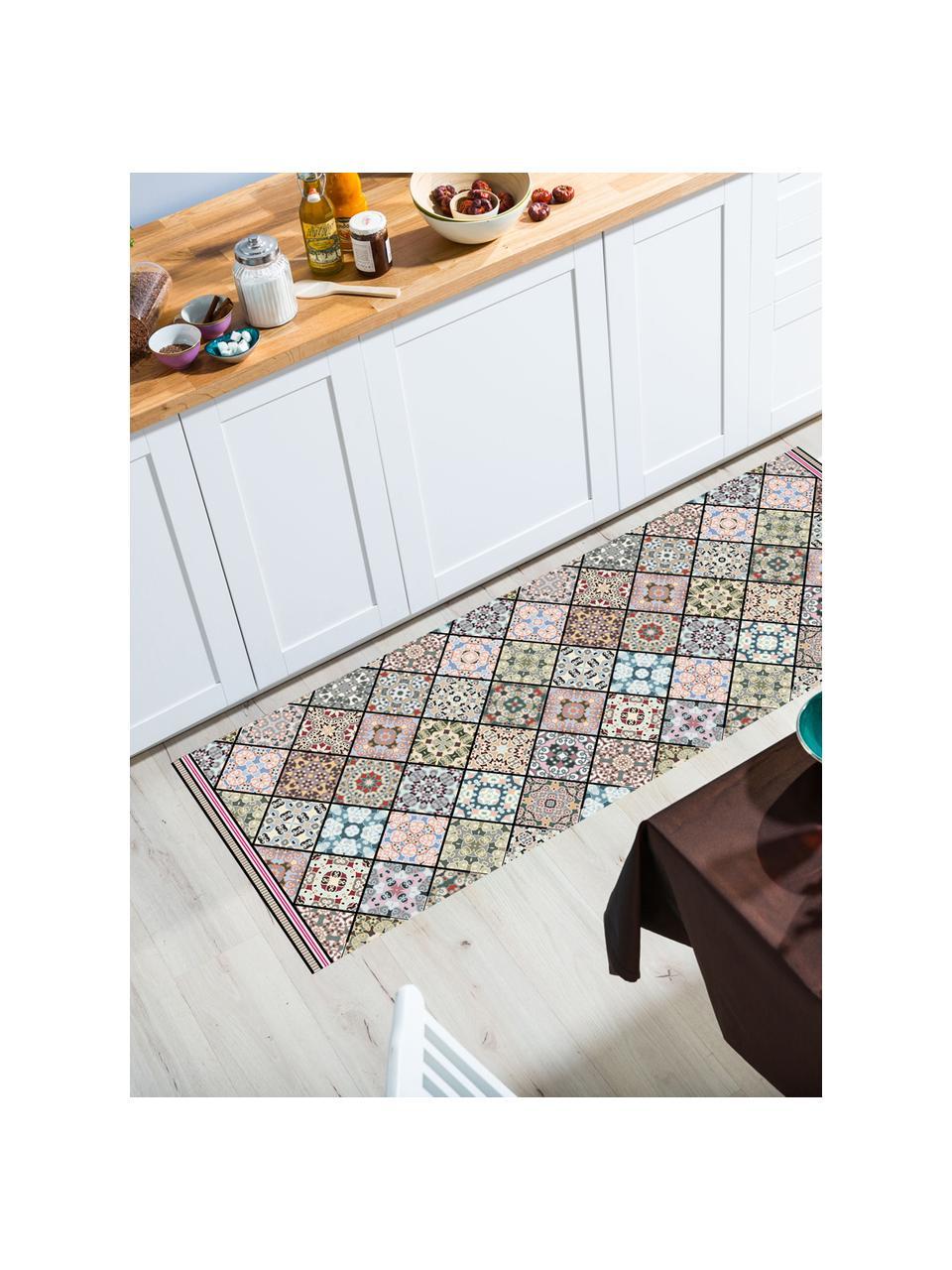Vlakke vinyl vloermat Aylin met kleurrijke print, antislip, Recyclebaar vinyl, Multicolour, 65 x 255 cm