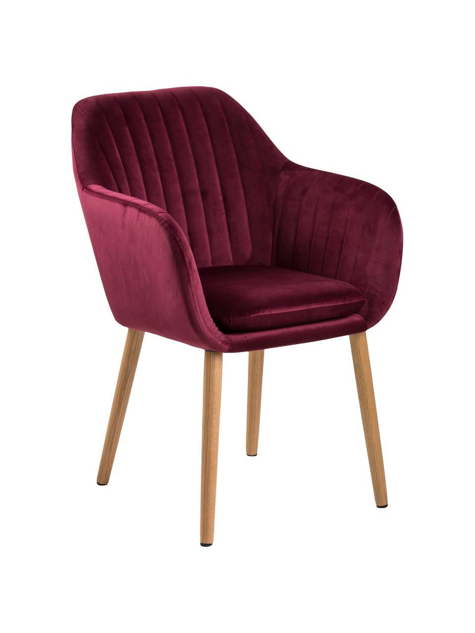 Krzesło tapicerowane z aksamitu Emilia, Tapicerka: poliester (aksamit) Dzięk, Nogi: drewno dębowe, olejowane, Aksamitny bordowy, nogi: drewno dębowe, S 57 x G 59 cm