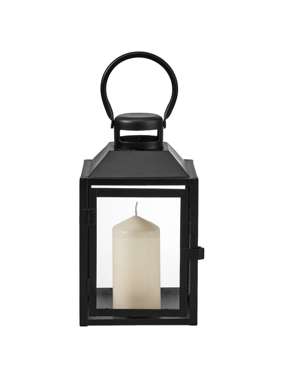 Lanterna in metallo Lighthouse, Metallo, vetro, Nero, trasparente, Larg. 13 x Alt. 24 cm