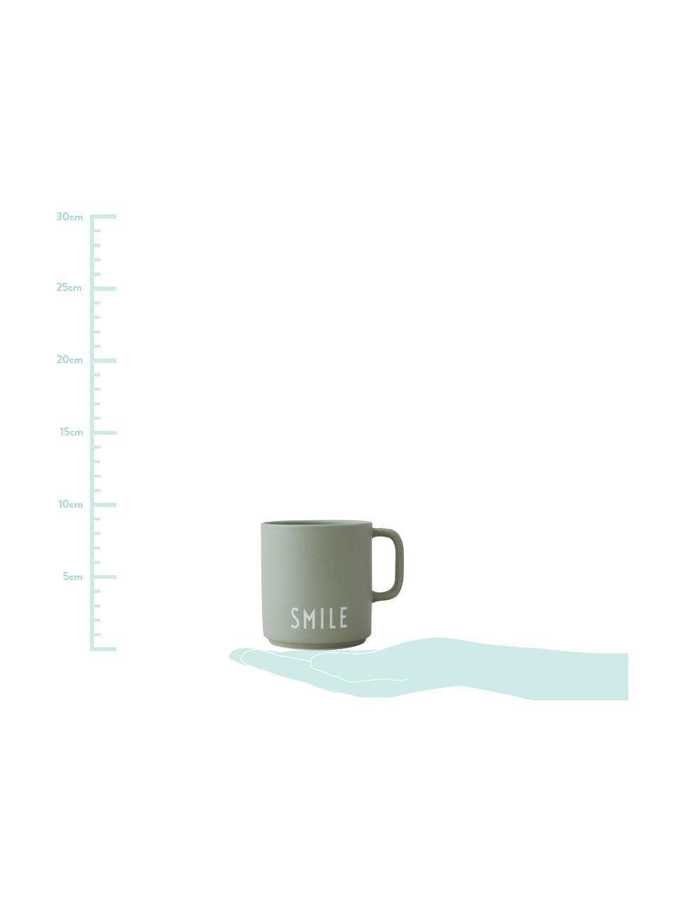 Design Kaffeetasse Favourite SMILE in gedecktem Grün mit Schriftzug, Fine Bone China (Porzellan), Graugrün, Weiß, Ø 10 x H 9 cm