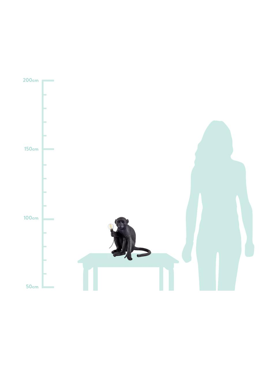 Lampada da tavolo da esterno con spina Monkey, Lampada: resina sintetica, Nero, Larg. 34 x Alt. 32 cm