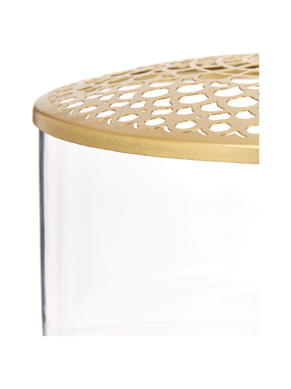 Kleine Glas-Vase Kassandra mit Metalldeckel, Vase: Glas, Deckel: Edelstahl, vermessingt, Vase: Transparent Deckel: Messing, Ø 21 x H 10 cm