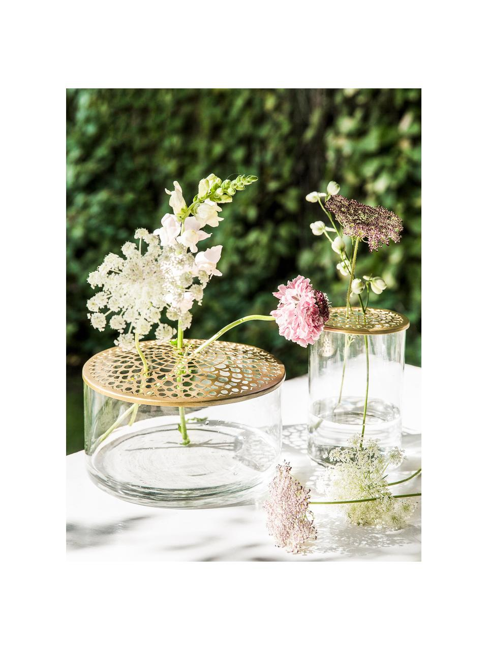 Mały wazon ze szkła z metalową pokrywką Kassandra, Wazon: transparentny Pokrywka: mosiądz, Ø 21 x W 10 cm