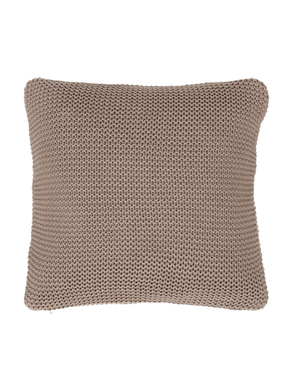 Funda de cojín de punto de algodón orgánico Adalyn, 100%algodón ecológico, certificado GOTS, Marrón, An 40 x L 40 cm