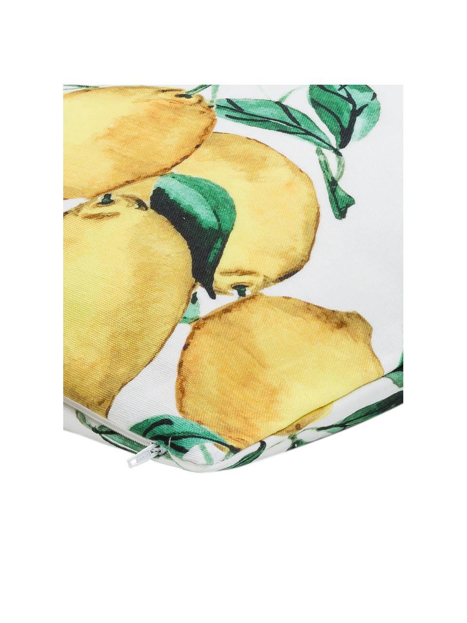 Kissenhülle Citrus mit Zitronen, 100% Baumwolle, Gelb, Grün, Weiß, 40 x 40 cm