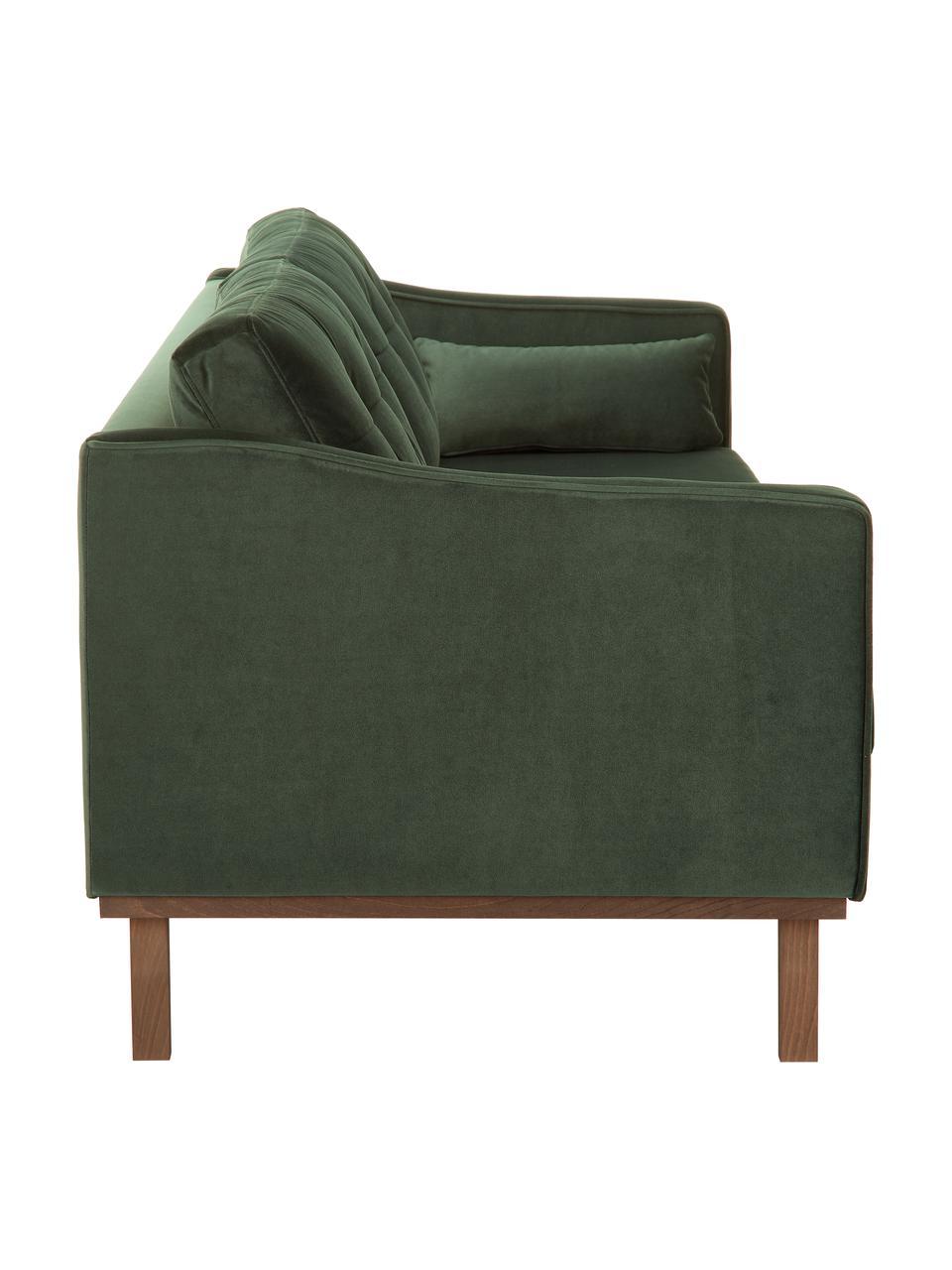 Fluwelen bank Alva (3-zits) in groen met beukenhout-poten, Bekleding: fluweel (hoogwaardig poly, Frame: massief grenenhout, Poten: massief gebeitst beukenho, Olijfgroen, B 215 x D 92 cm