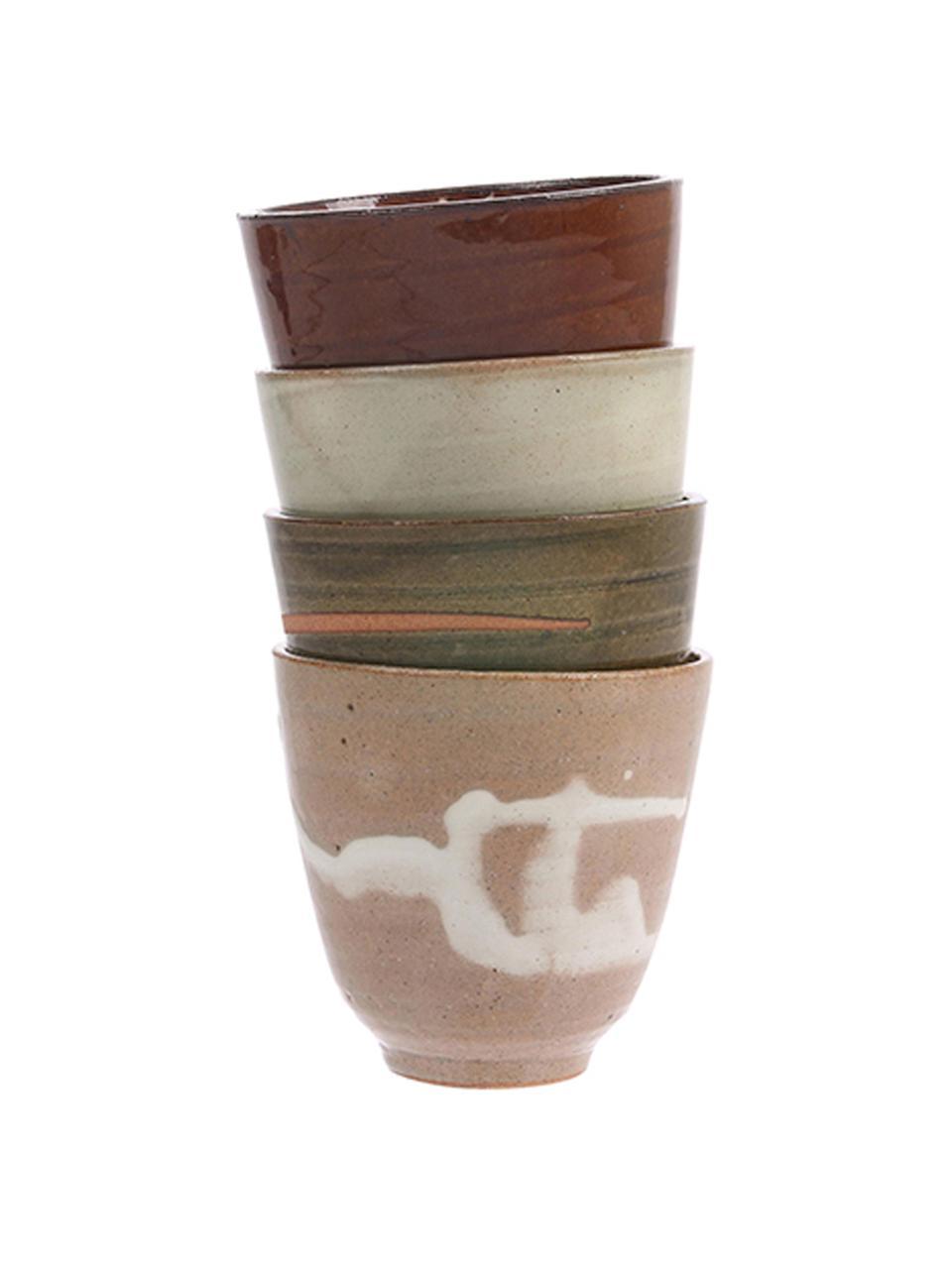 Handgemachte Becher Yunomi im japanischen Style, 4er-Set, Keramik, Mehrfarbig, Ø 9 x H 8 cm