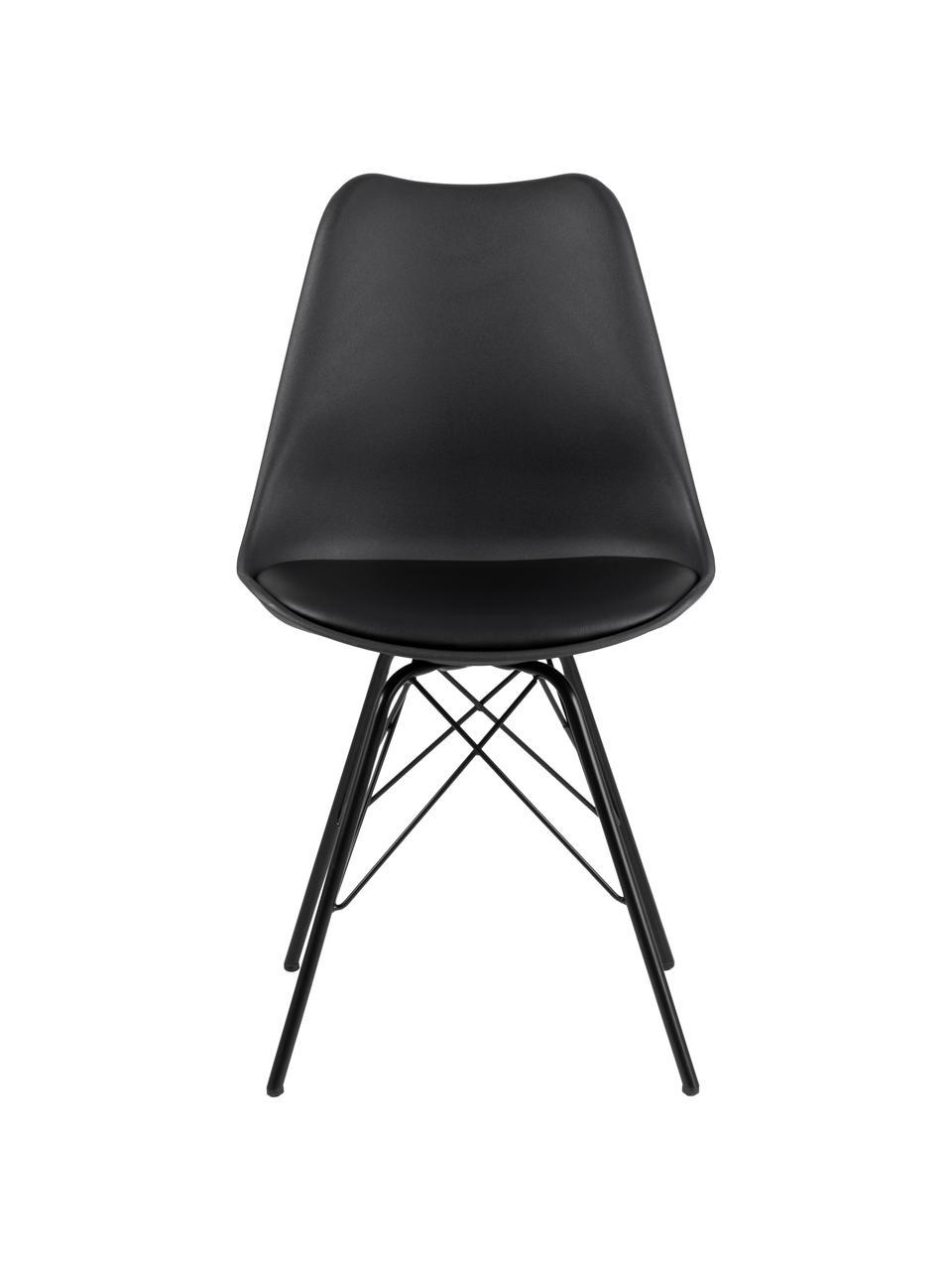 Kunststoff-Stühle Eris, 2 Stück, Sitzschale: Kunststoff, Beine: Metall, pulverbeschichtet, Kunststoff Schwarz, Schwarz, B 49 x T 54 cm