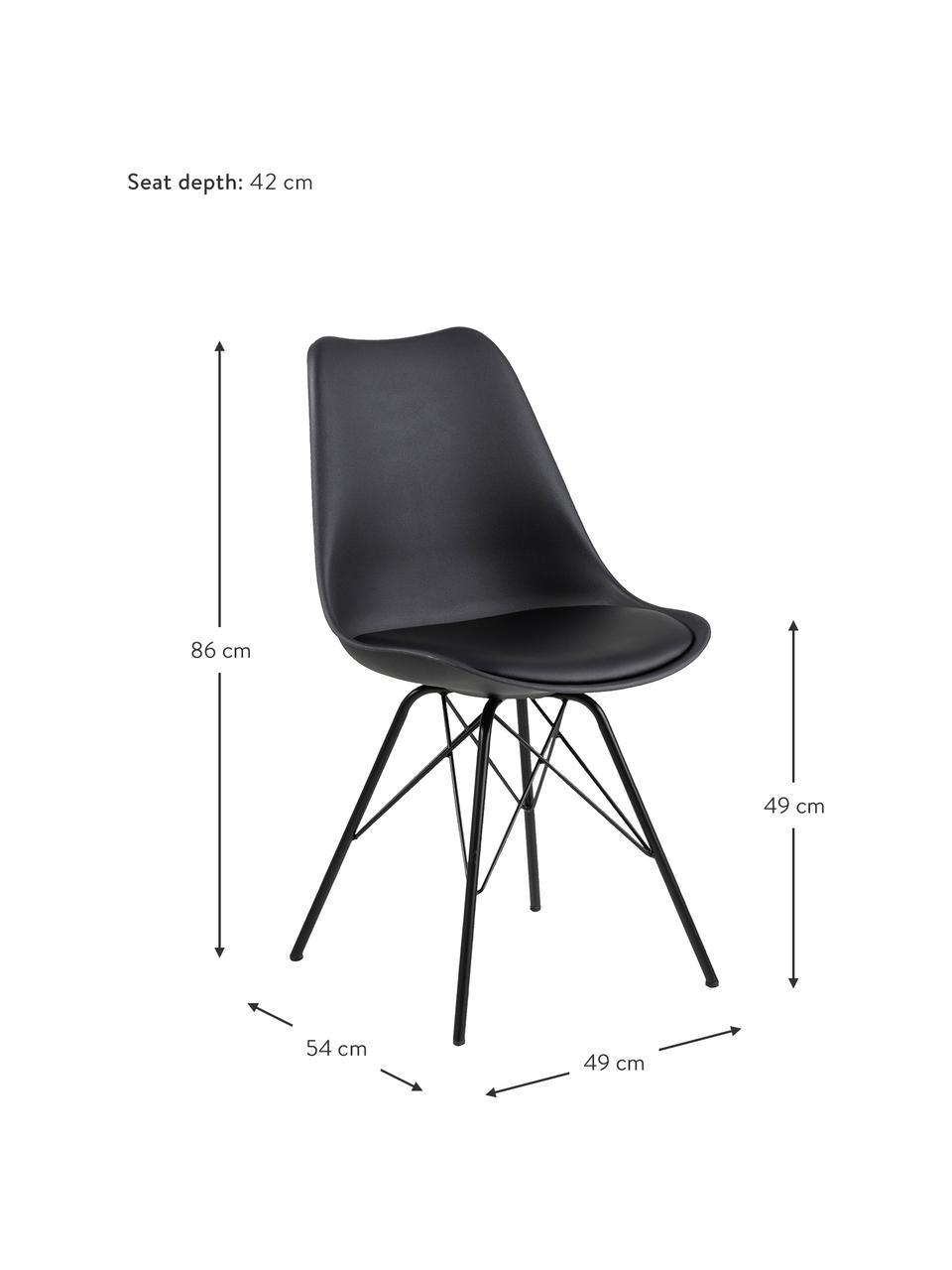 Esszimmerstühle Eris mit gepolsteter Sitzfläche in Schwarz, 2 Stück, Sitzfläche: Kunstleder (Polyurethan) , Sitzschale: Kunststoff, Beine: Metall, pulverbeschichtet, Schwarz, B 49 x T 54 cm