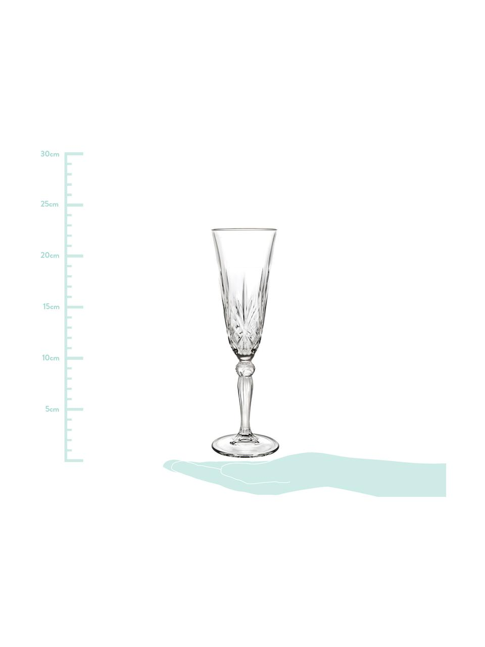 Křišťálová sklenice na sekt Melodia, 6 ks, Transparentní