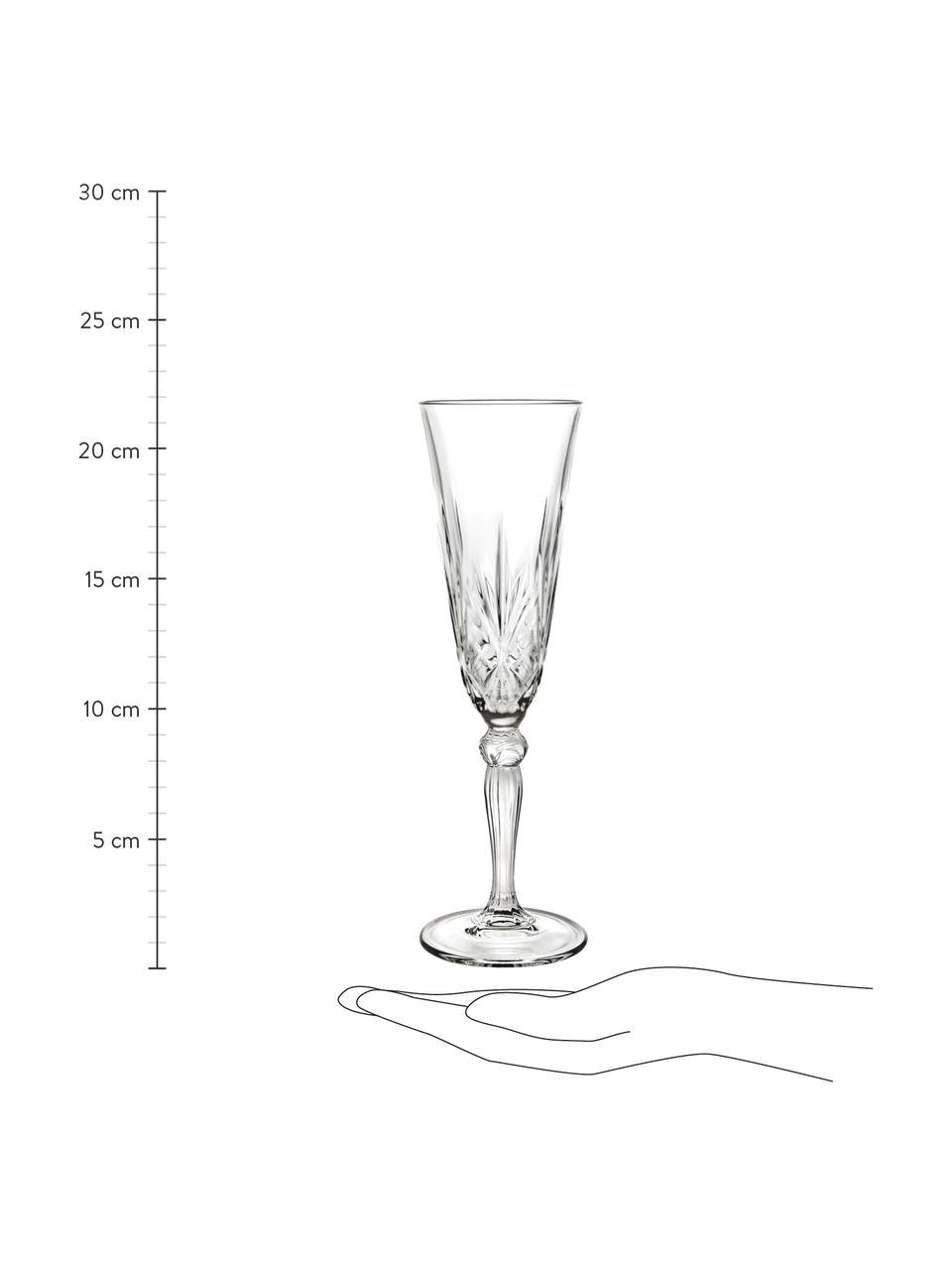 Kristall-Sektgläser Melodia mit Relief, 6 Stück, Kristallglas, Transparent, Ø 7 x H 22 cm