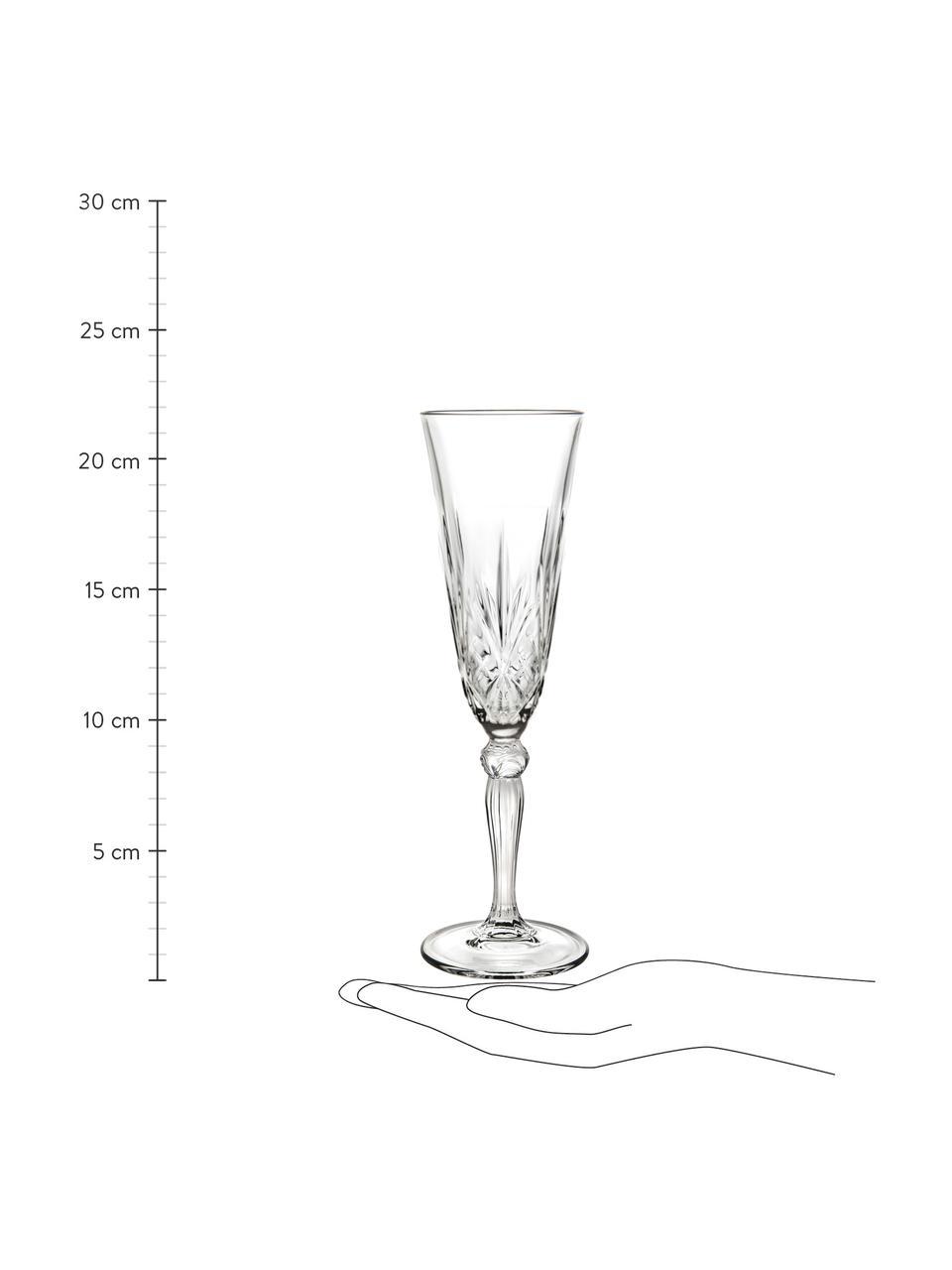 Kieliszek do szampana ze szkła kryształowego Melodia, 6 szt., Szkło kryształowe, Transparentny, Ø 7 x W 22 cm