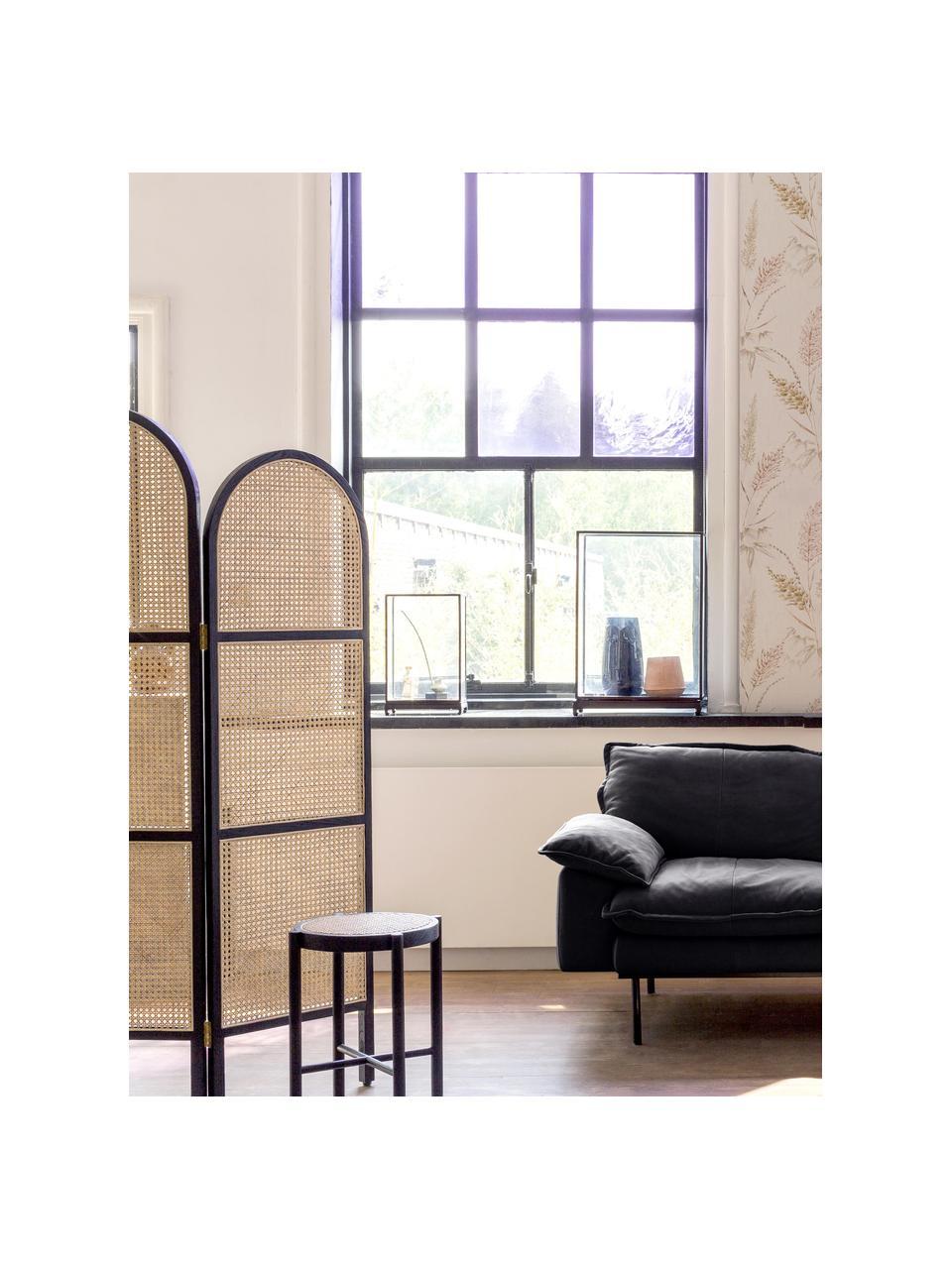 Paravento con intreccio viennese Webbing, Cornice: legno Sungkai, Intreccio viennese: canna da zucchero, Nero, Larg. 150 x Alt. 180 cm