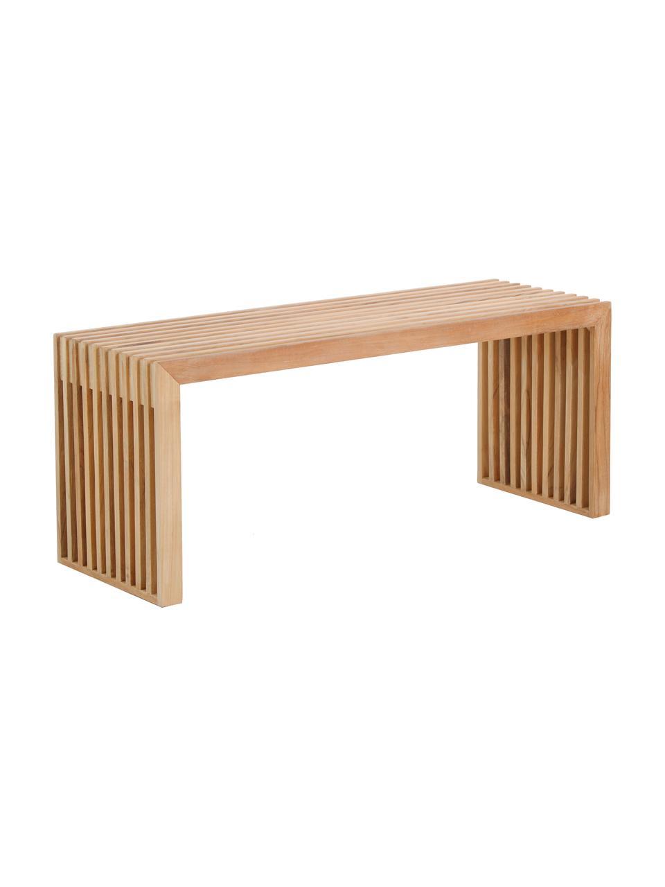 Ławka z litego drewna tekowego Rib, Drewno tekowe, Drewno tekowe, S 104 x W 43 cm