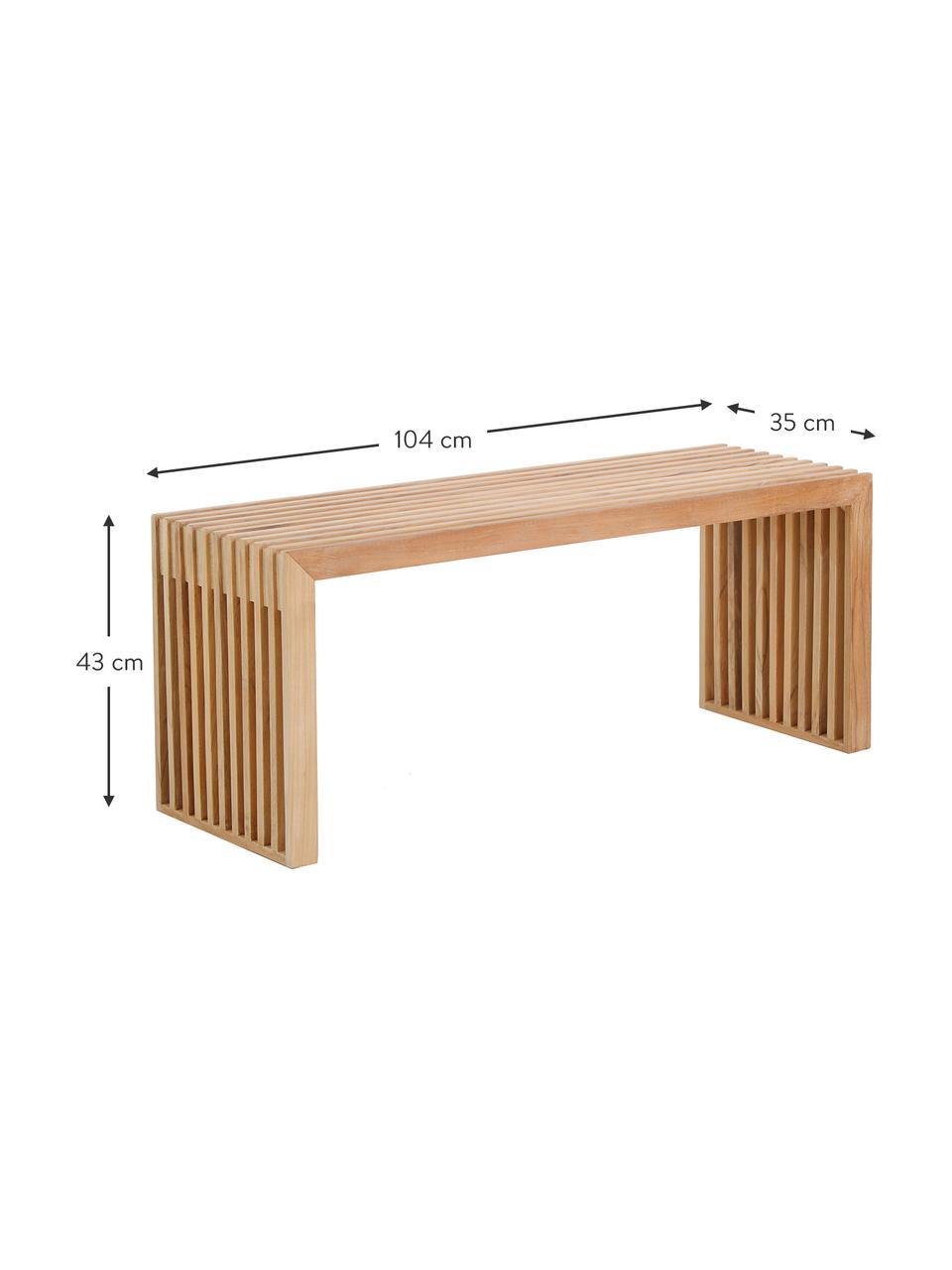 Sitzbank Rib aus massivem Teakholz, Teakholz, Teak, 104 x 43 cm