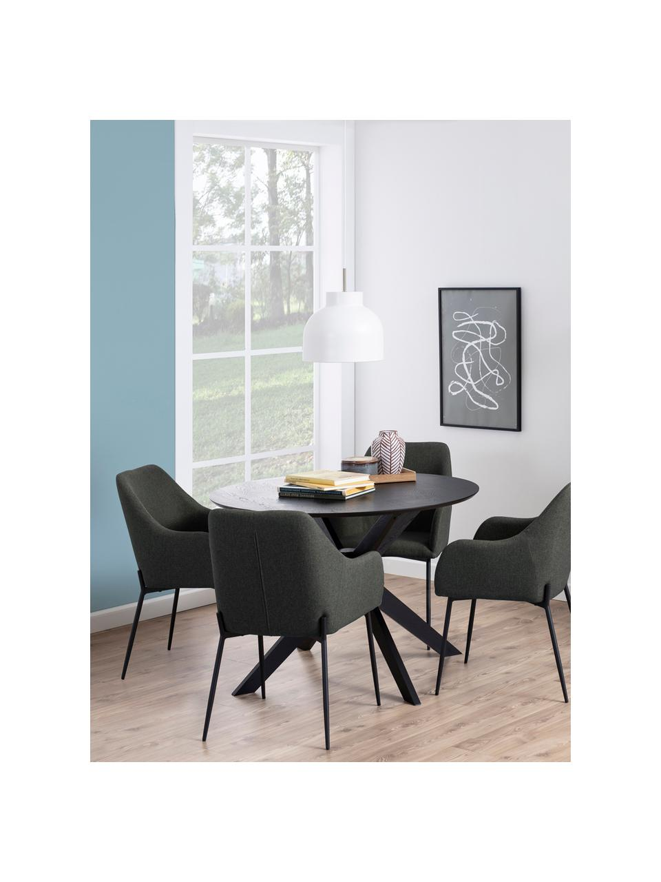 Ronde eettafel Duncan, Ø 105 cm, Tafelblad: MDF met eikenhoutfineer, Poten: massief gelakt berkenhout, Zwart, Ø 105 x H 75 cm
