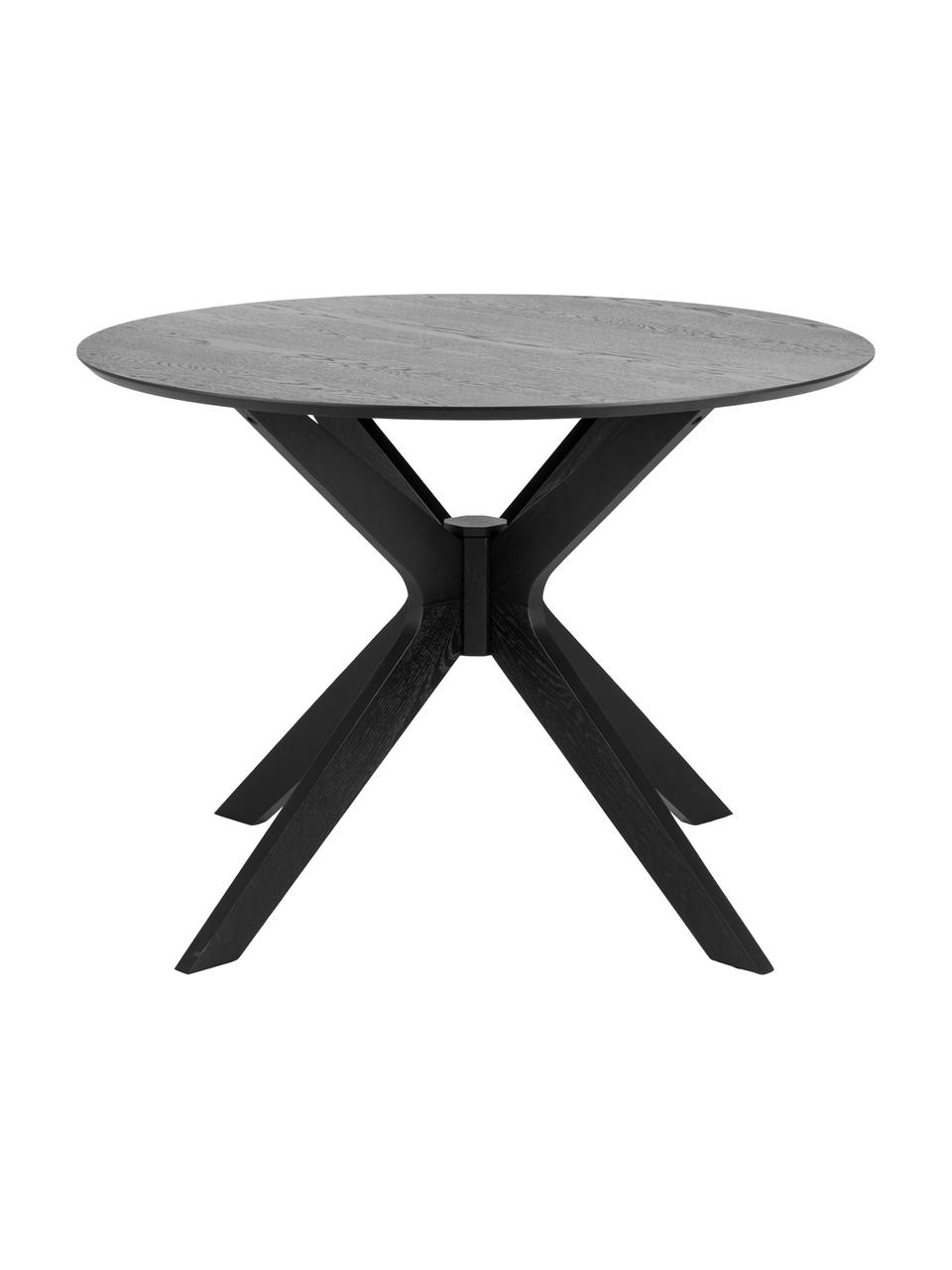 Runder Esstisch Duncan, Ø 105 cm, Tischplatte: Mitteldichte Holzfaserpla, Beine: Massives Birkenholz, lack, Schwarz, Ø 105 x H 75 cm