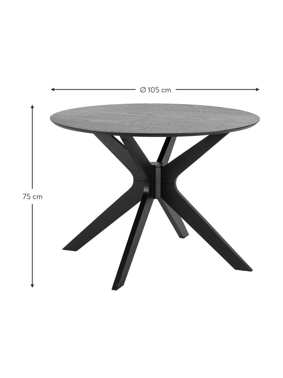 Tavolo da pranzo rotondo in legno di quercia Duncan, Ø 105 cm, Gambe: legno di betulla massicci, Nero, Ø 105 x Alt. 75 cm