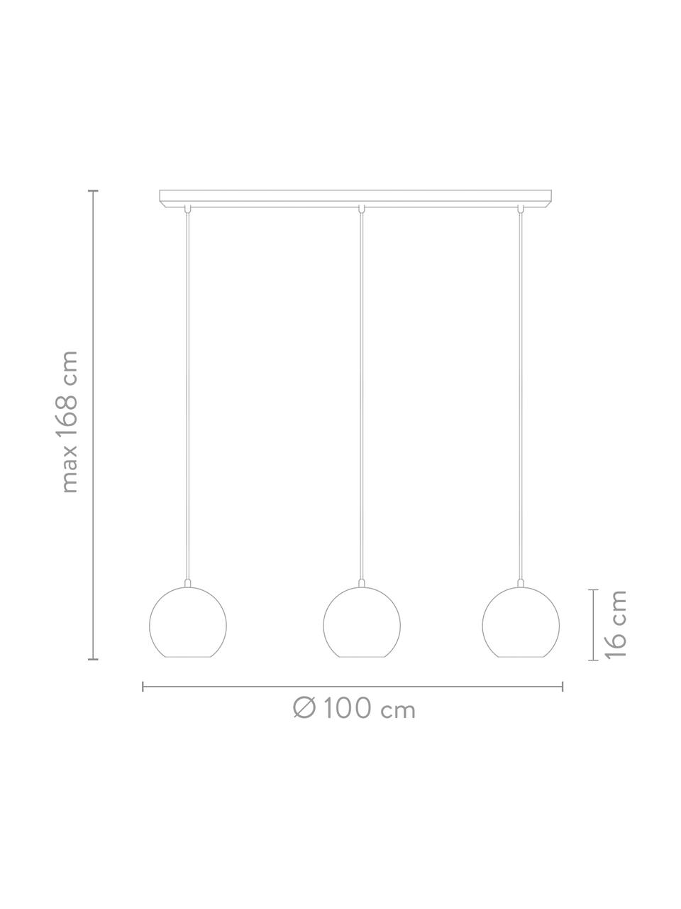 Suspension industrielle 3 lampesl Ball, Chrome, très brillant, noir, mat