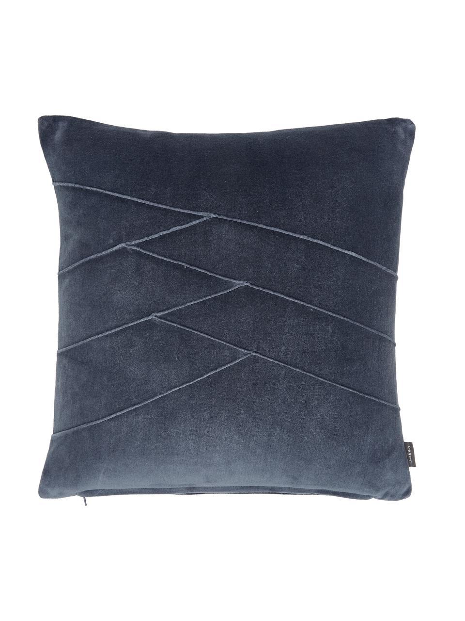 Poduszka z aksamitu z wypełnieniem Pintuck, Tapicerka: 55% rayon, 45% bawełna, Niebieski, S 45 x D 45 cm
