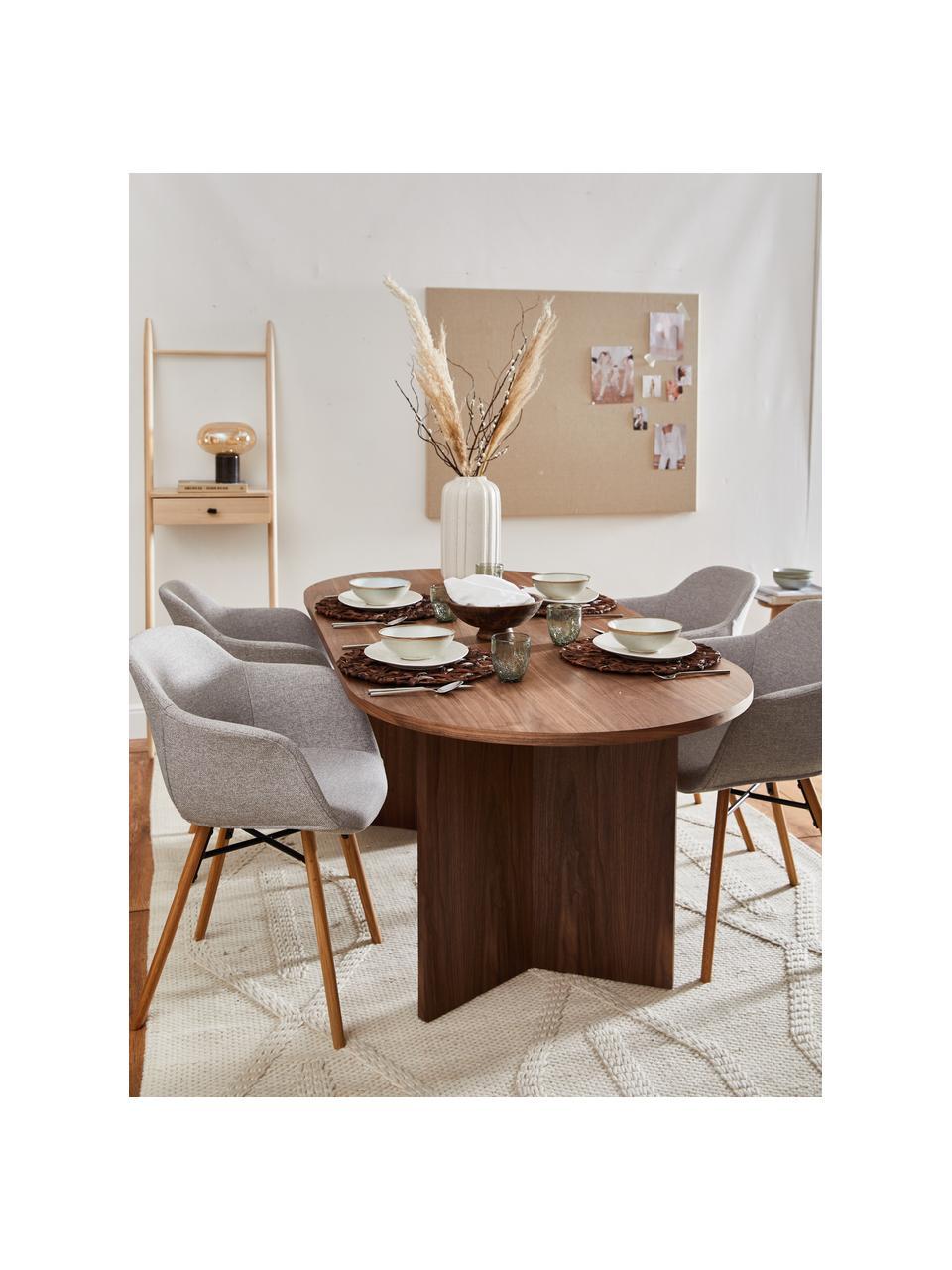 Tavolo ovale in legno con impiallacciato di noce Toni, Pannello di fibra a media densità (MDF) con finitura in noce, verniciato, Finitura in noce, Larg. 200 x Prof. 90 cm