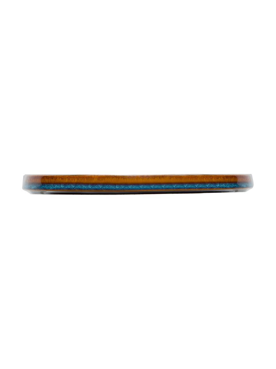 Ręcznie wykonany talerz duży Quintana, 2 szt., Porcelana, Odcienie bursztynowego, brązowy, niebieski, Ø 28 cm