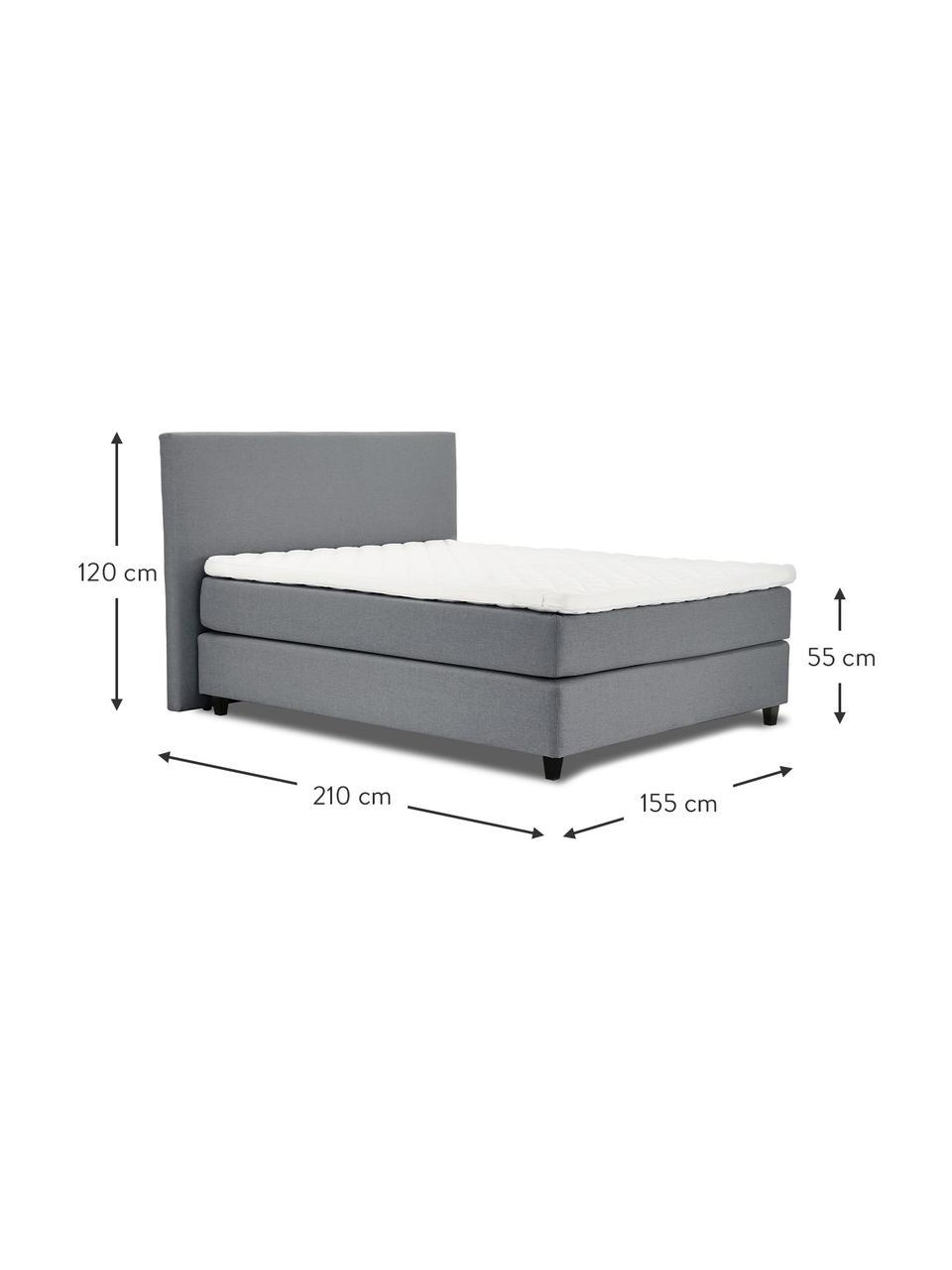 Łóżko kontynentalne premium Eliza, Nogi: lite drewno brzozowe, lak, Szary, 140 x 200 cm