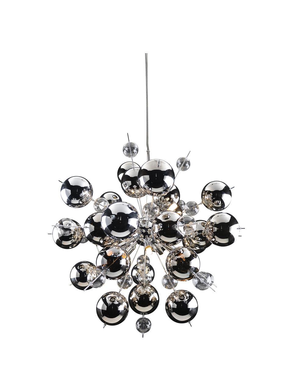 Große Pendelleuchte Explosion aus Glaskugeln, Baldachin: Metall, verchromt, Chrom, Ø 65 cm