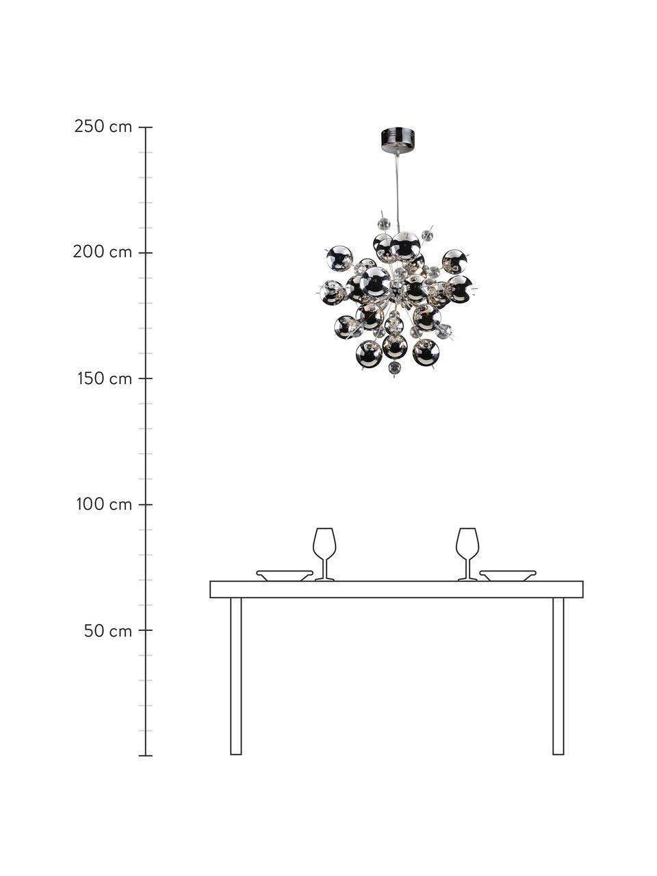 Grote hanglamp Explosion met glazen bollen, Baldakijn: verchroomd metaal, Chroomkleurig, Ø 65 cm