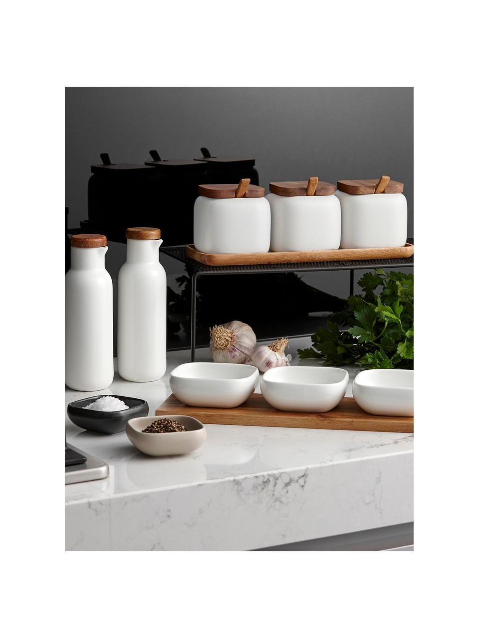 Set contenitori in porcellana e legno di acacia Essentials 7 pz, Contenitore: porcellana, Sabbia, legno di acacia, Set in varie misure