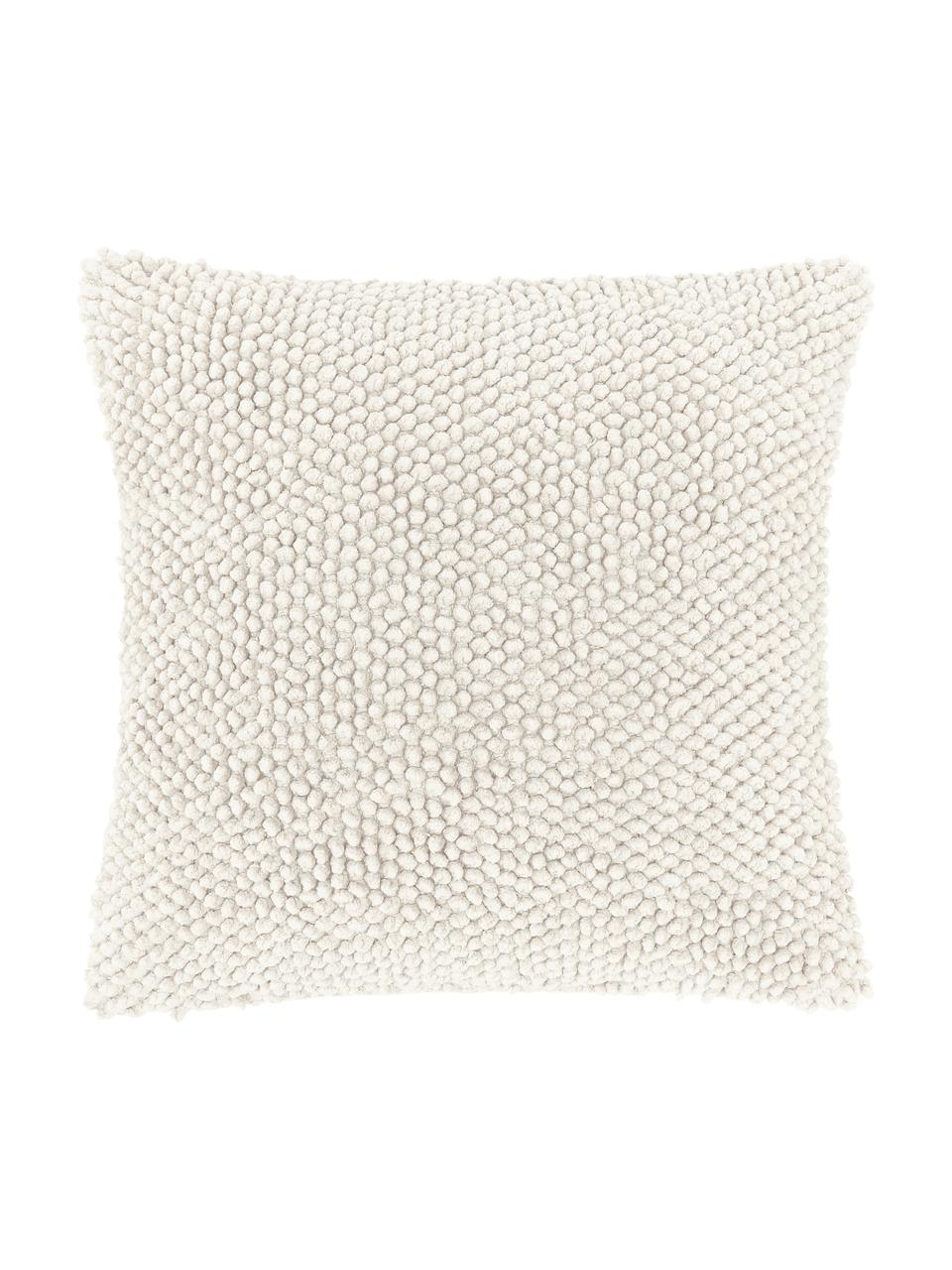 Poszewka na poduszkę ze strukturalną powierzchnią Indi, 100% bawełna, Złamana biel, S 45 x D 45 cm