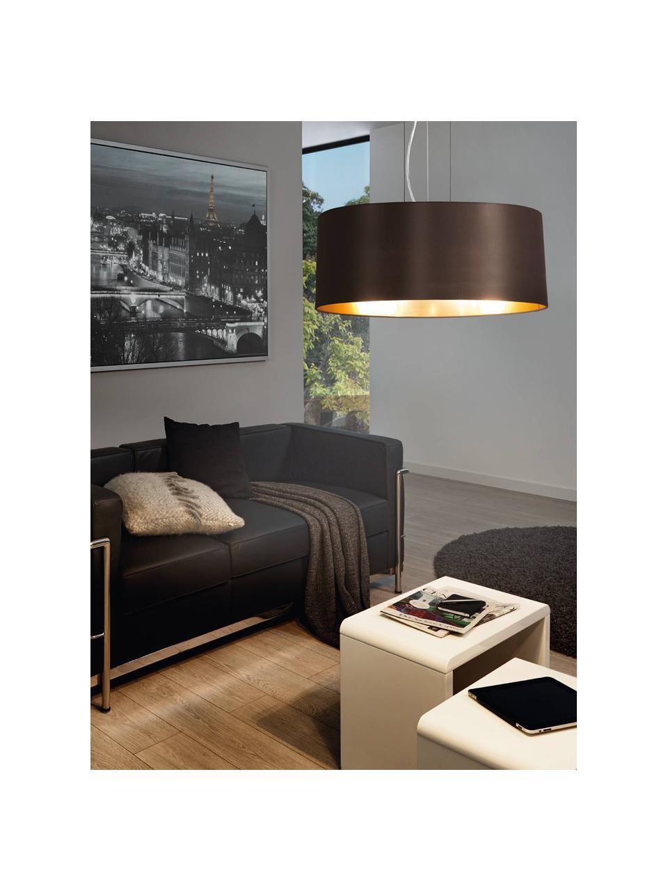 Hanglamp Jamie, Baldakijn: vernikkeld metaal, Fitting: vernikkeld metaal, Zilverkleurig, zwart, Ø 53  x H 24 cm