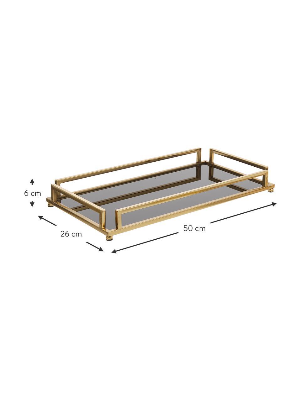 Deko-Tablett Traika in Gold mit schwarzer Ablagefläche, L 50 x B 26 cm, Rahmen: Metall, beschichtet, Ablagefläche: Glas, Messingfarben, Schwarz, 26 x 50 cm