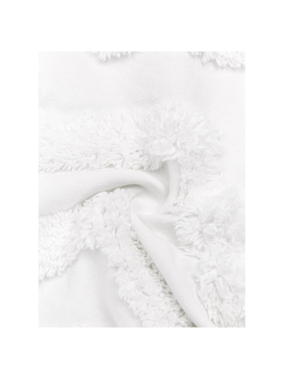 Kissenhülle Zack mit getuftetem Muster, 100% Baumwolle, Weiß, 30 x 50 cm
