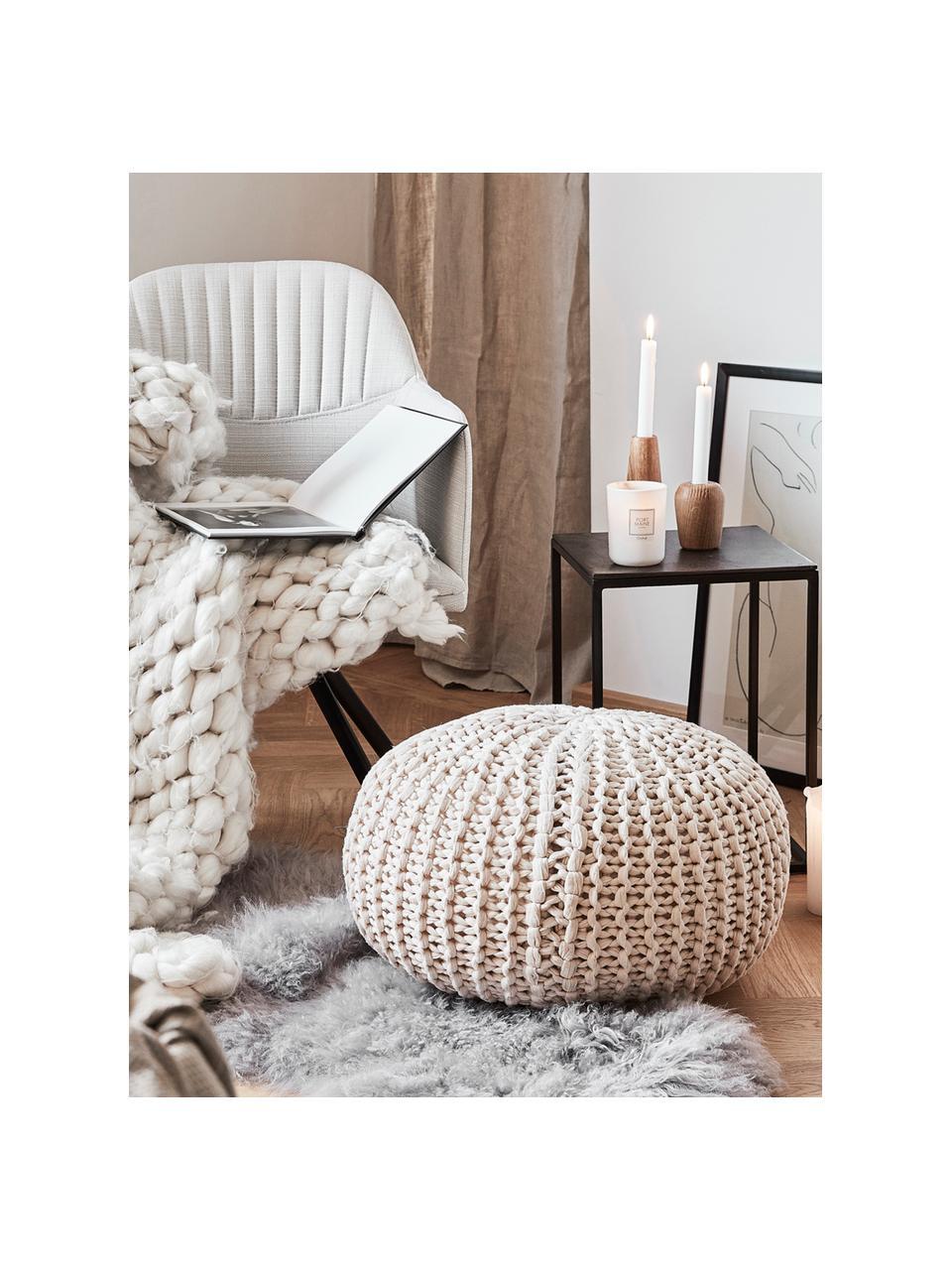 Ręcznie wykonany puf z dzianiny Dori, Tapicerka: 100% bawełna, Kremowy, Ø 55 x W 35 cm