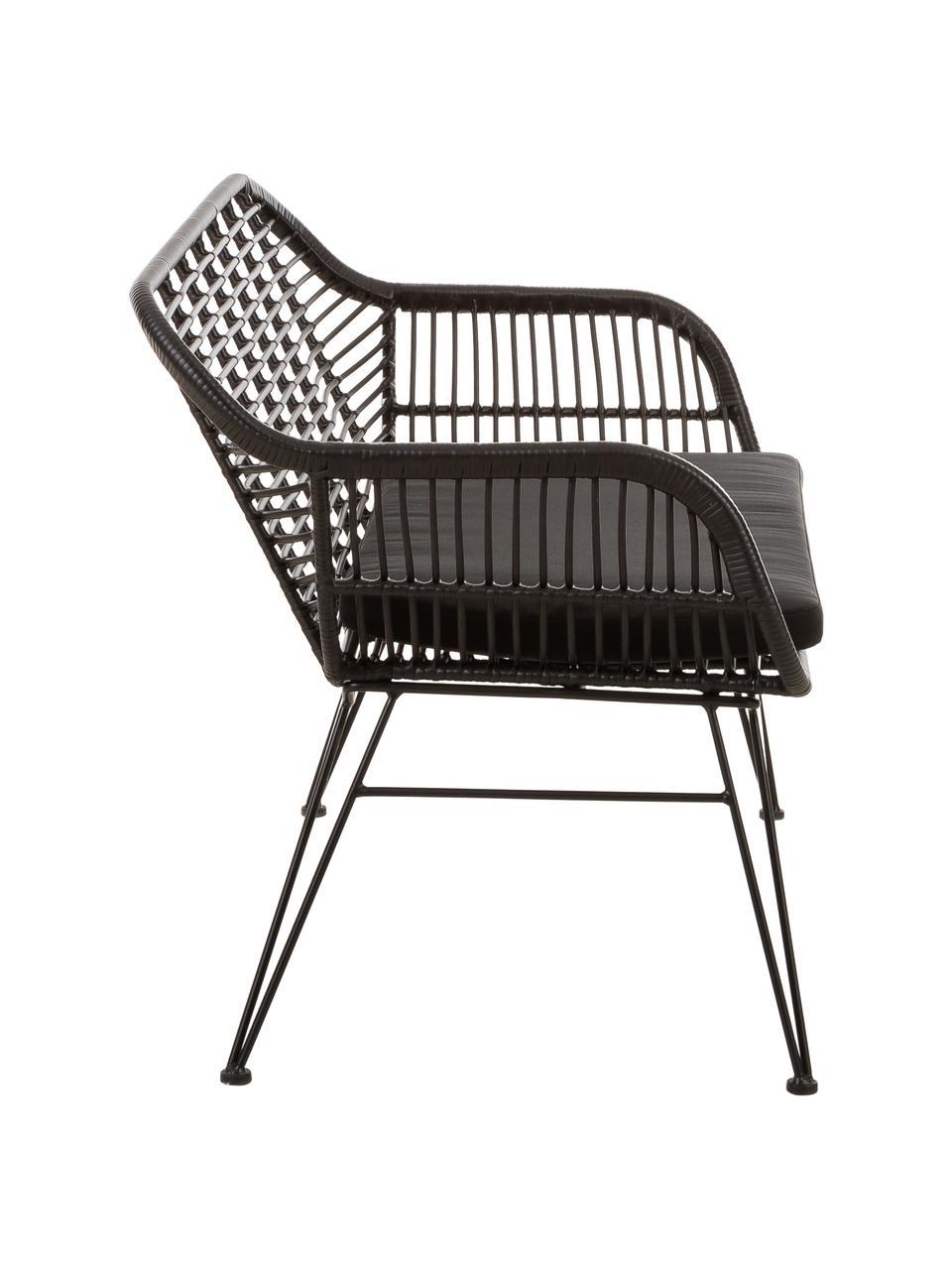 Polyrattan-Sitzbank Costa in Schwarz, Sitzfläche: Polyethylen-Geflecht, Gestell: Metall, pulverbeschichtet, Schwarz, 126 x 81 cm