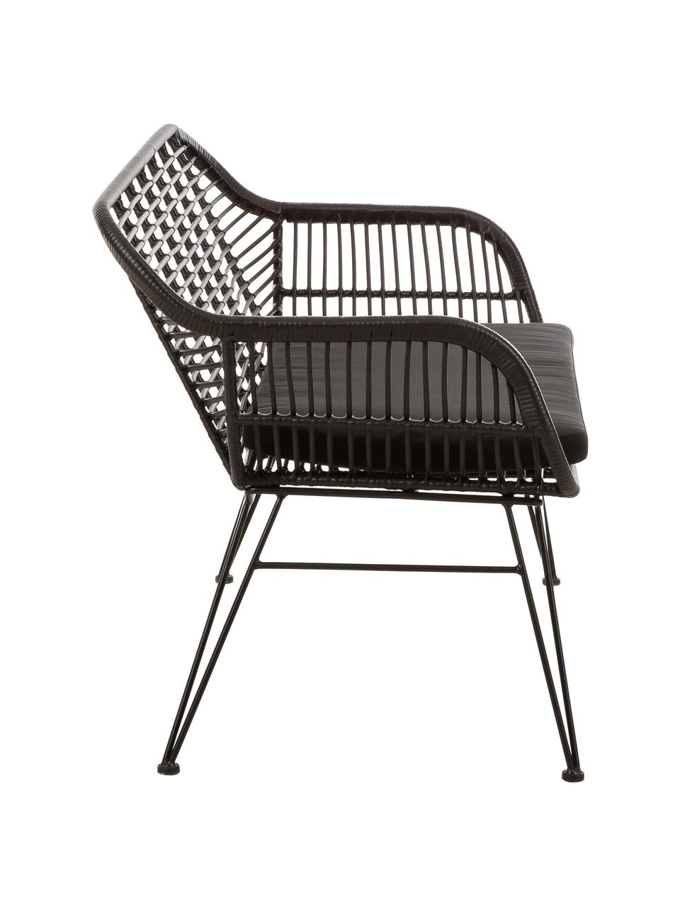 Polyrotan zitbank Costa in zwart, Zitvlak: polyethyleen-vlechtwerk, Frame: gepoedercoat metaal, Zwart, 126 x 81 cm