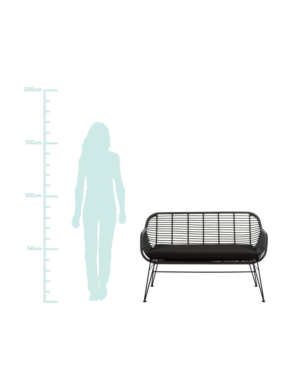 Polyrattan-Sitzbank Costa, Sitzfläche: Polyethylen-Geflecht, Gestell: Metall, pulverbeschichtet, Schwarz, Schwarz, B 126 x T 68 cm