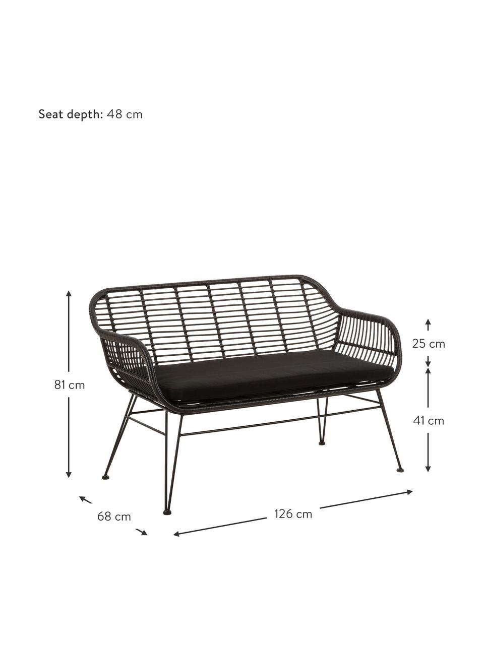 Panca da giardino intrecciata color nero Costa, Seduta: intreccio in polietilene, Struttura: metallo verniciato a polv, Nero, Larg. 126 x Alt. 81 cm