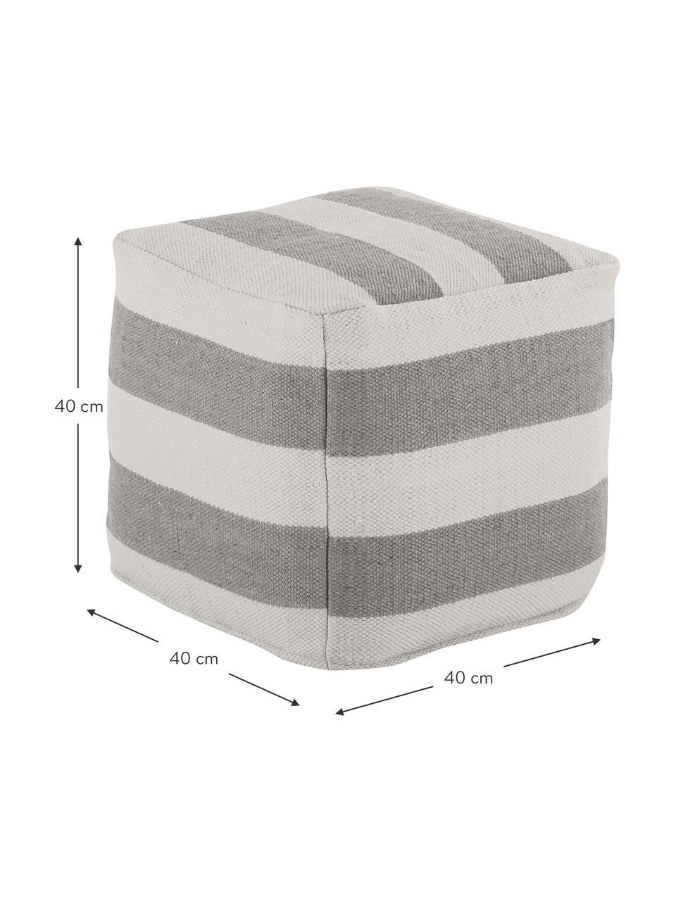 Pouf da interno-esterno Lani, Rivestimento: 100% poliestere riciclato, Grigio, ecru, Larg. 40 x Alt. 40 cm
