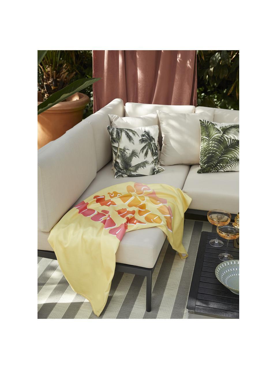 Telo mare leggero giallo con scritta Sunshine, 55% poliestere, 45% cotone, qualità molto leggera 340 g/m², Giallo, multicolore, Larg. 70 x Lung. 150 cm