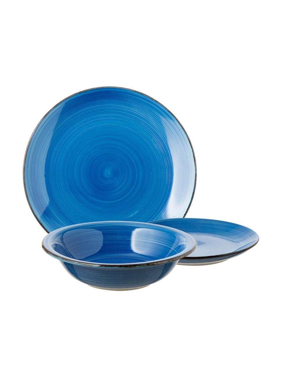 Set 18 piatti dipinti a mano in tonalità blu per 6 persone Baita, Gres (pietra dolomitica) dipinta a mano, Tonalità blu, Set in varie misure