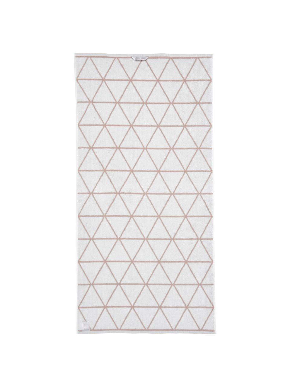 Lot de serviettes de bain réversibles Elina, 3élém., Rose, blanc crème