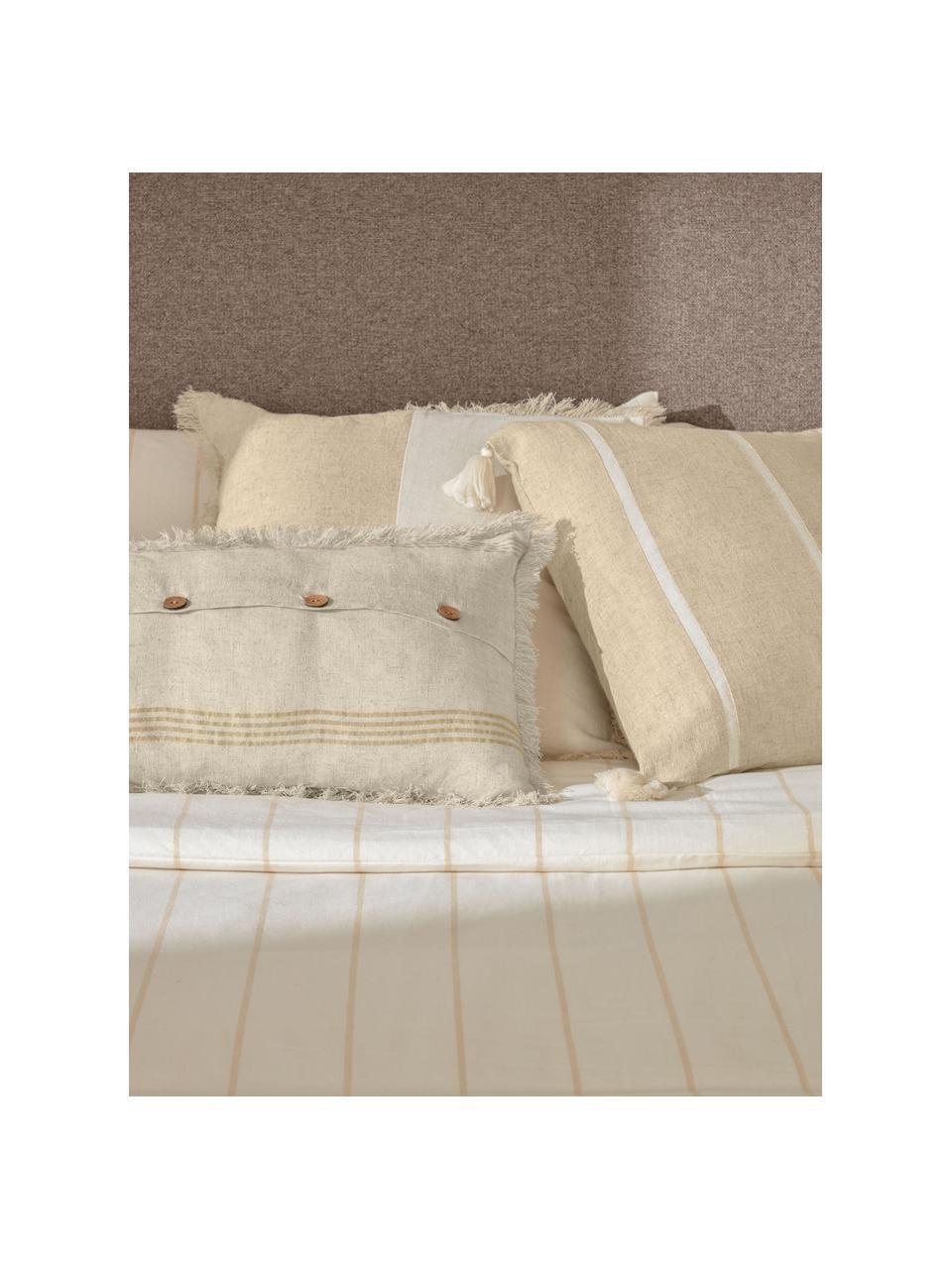 Federa arredo a righe con nappe Silene, 100% cotone, Beige, Larg. 45 x Lung. 45 cm