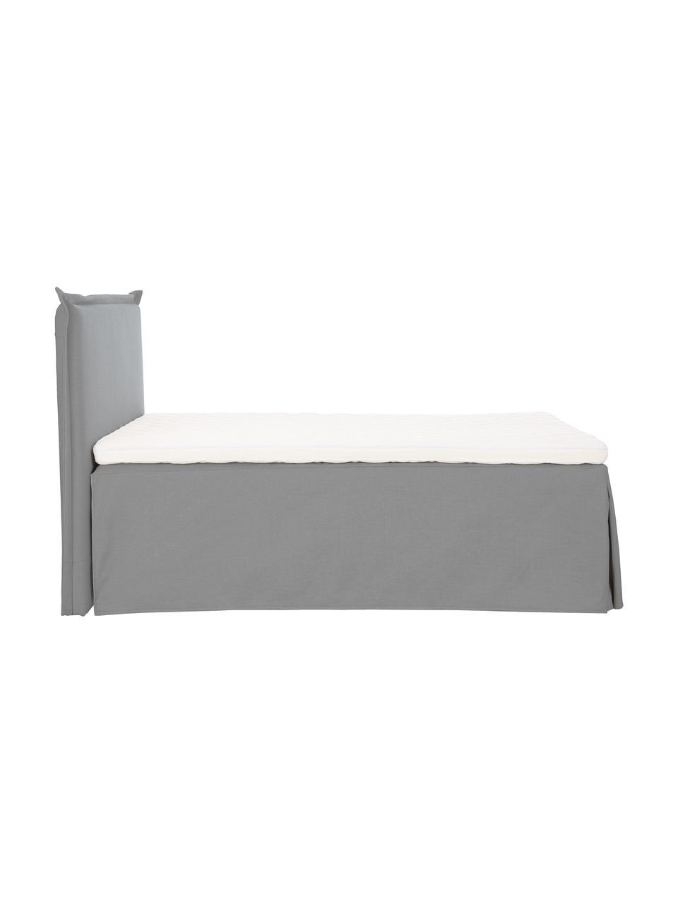Letto boxspring premium in tessuto grigio con contenitore Eliza, Materasso: nucleo a 5 zone di molle , Piedini: legno di betulla massicci, Tessuto grigio, 140 x 200 cm